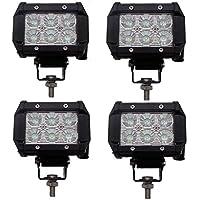 ehao 4x 18W 1800lúmenes CREE LED Spot luz para todo terreno SUV Barco 4x 4Jeep lámpara Tractor Marino todoterreno luz RV ATV (Pack de 4)