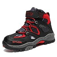 ASHION Hiking Shoes Comfortable Cilmbing Boots Boys Trekking Waterproof Snowshoeing Winter Walking Boots, 3-blackred, 6 UK Narrow