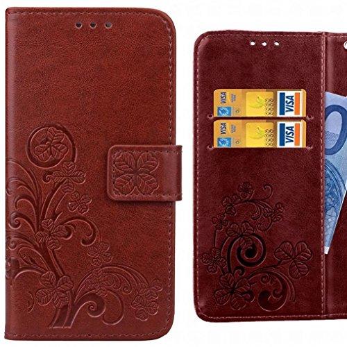 Ougger Handyhülle für Alcatel Pixi 4 (5) Hülle Tasche, Kunst Blatt BriefHülle Tasche Schale Schutzhülle Leder Weich Magnetisch Silikon Cover Schale Hülle mit Kartenslot (Braun)