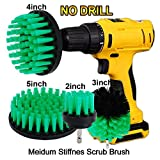 OxoxO Drill Brush - 2 '3' 4 '5' Medium Steifheit Borsten Attachment Scrubber Cleaning Kit für Küche Badezimmer Oberflächen Fliesen Duschen Fliesen Teppichboden