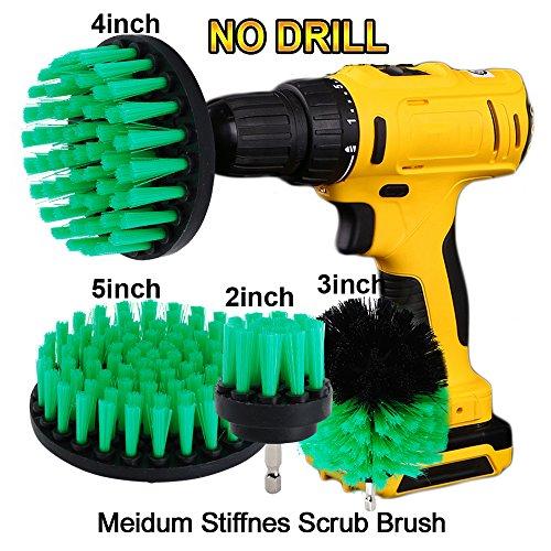 """OxoxO Drill Brush - 2 """"3"""" 4 """"5"""" Medium Steifheit Borsten Attachment Scrubber Cleaning Kit für Küche Badezimmer Oberflächen Fliesen Duschen Fliesen Teppichboden"""