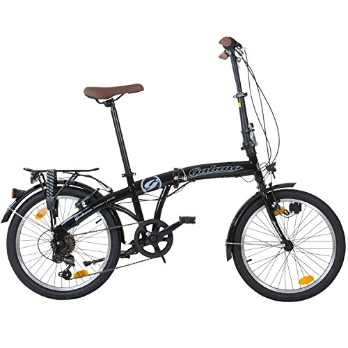 20 Zoll Galano Park Lane Camping Klapp Fahrrad 6 Gang Shimano Licht , Farbe:Schwarz
