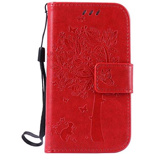 Galaxy S3 mini Hülle,Cozy Hut Galaxy S3 mini Hülle Wallet Case,Handy Case Cover Tasche for Samsung Galaxy S3 mini,Bunte Katzen und Baum Muster Druck Flip PU Leder Tasche Case Hülle (Katze N Hut)