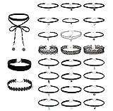 Floweralight 27 Stück Halsbänder für Damen Samt Kette Tattoo Choker Set Joker Halsketten Spitzen Mehrfarbig