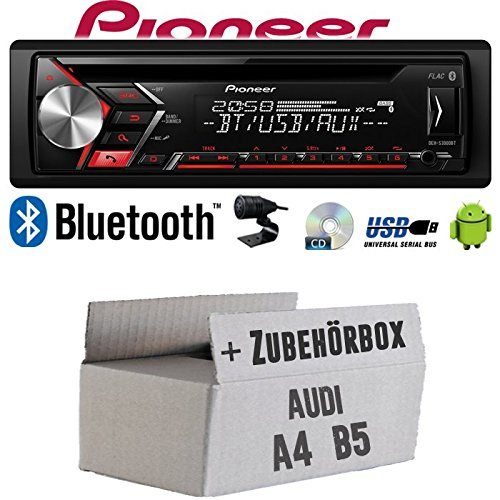 Autoradio Radio Pioneer DEH-S3000BT - Bluetooth | CD | MP3 | USB | Android Einbauzubehör - Einbauset für Audi A4 B5 - JUST SOUND best choice for caraudio