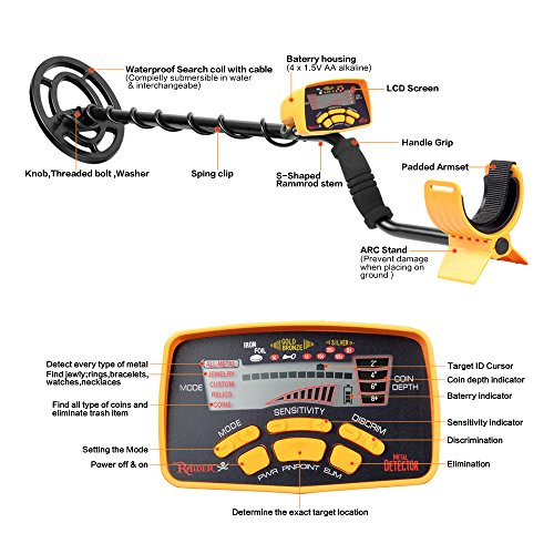 SHUOGOU Metal Detector MD-6250 Professional High Sensitivity Waterproof Underground Metal Detector Jewelry Hunting Treasure Search LCD Display Three Detect Mode