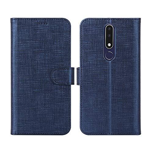 Nokia 3.1 Plus Hülle,Leder Tasche Flip klappbares Case Cover Standfunktion Kartenfach Magnetverschluß Card Holder kristallklarer TPU Stoßstange Wallet Schutzhülle Handyhülle für Nokia 3.1 Plus (Blau)