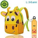 Zaino scuola elementari per animale bambini bambina, Zaino asilo per ragazzi ragazze & Con bollitore (giraffa, 3-6 anni 26x10x32cm)