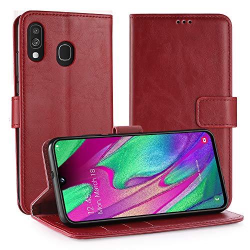 Simpeak Ersatz für Samsung Galaxy A40 Hülle Leder Rot [5,9 Zoll], Case Cover handyhülle für Samsung Galaxy A40 flipcase [Kartensteckplätze] [Stand Feature] [Magnetic Closure Snap] Rot Cover Case Snap