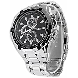 Foxnovo CURREN 8023 Waterproof Men''s Round Dial Stainless Steel Band Quartz Wrist Watch with Paper Package Box (Silver+Black)
