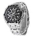 Foxnovo Curren 8023 wasserdichte Quarz-Armbanduhr für Herren, rundes Zifferblatt, Edelstahl-Band, wird in Papier-Box geliefert (Silber + Schwarz)