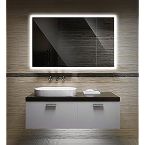 Badezimmerspiegel mit Beleuchtung LED Spiegel - 80x60 cm - Badspiegel mit Licht - Design Spiegel für Bad und Gäste WC hinterleuchtet - beleuchteter Wandspiegel Rahmenlos - OW-LED