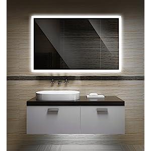Badezimmerspiegel mit Beleuchtung LED Spiegel – 40×30 cm – Badspiegel mit Licht – Design Spiegel für Bad und Gäste WC…
