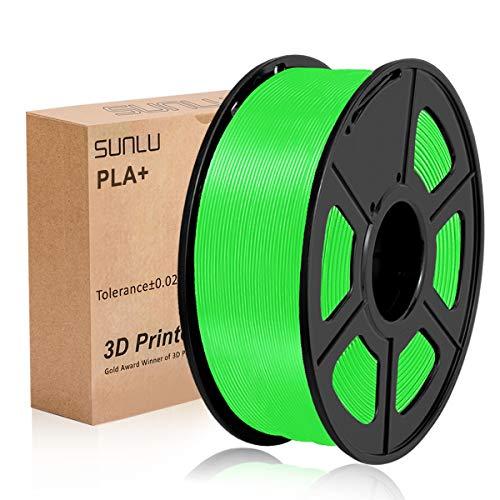 Filamento PLA Plus de la impresora SUNLU 3D, filamento PLA de 1.75 mm, filamento de impresión 3D de bajo olor, precisión dimensional +/- 0.02 mm, filamento 3D del carrete 3D, Verde PLA+