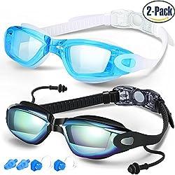 Gafas de Natación de COOLOO, Paquete de 2, Gafas para Nadar Antiempañado y Anti Rayos UV, Impermeable, Gafas de Natación para Adultos Hombres Mujeres Jóvenes Niños Niño, Lentes Espejo y Transparente, Negro y Azul Claro