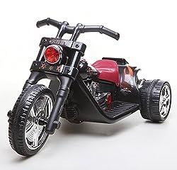 ES-TOYS Kinder-Motorrad mit elektrischem Schalter, 2Motoren, 6V, 7Ah, Schwarz
