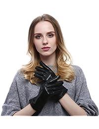 VEMOLLA Guantes de piel casual para mujer invierno caliente piel de cordero  tactil pantalla ef49d1ceee5