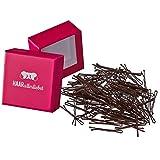HAARallerliebst Mini Haarklammern Bobby Pins (braun   3,4cm   100 Stück) inkl. Schachtel zur Aufbewahrung (Schachtelfarbe: Pink)
