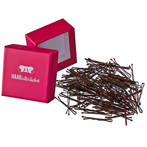 100 mini Haarklammern Bobby Pins braun 3,4cm in pinker Box von HAARallerliebst