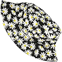 VALICLUD Sombrero de Cubo Sombrero de Pescador con Estampado de Margaritas de Verano Gorro de Cubo de Algodón 100% Sombrero de Sol de Moda para Exteriores (Blanco Negro)