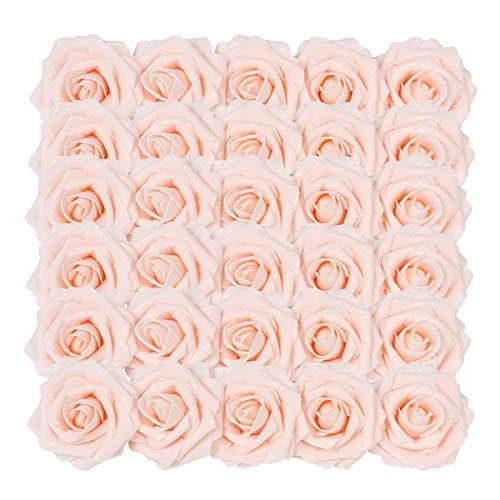 Homcomodar fiori artificiali champagne rosa rosa 30pcs reale cercando rose finte con gambo per matrimonio fai da te mazzi centrotavola disposizione partito casa arredamento