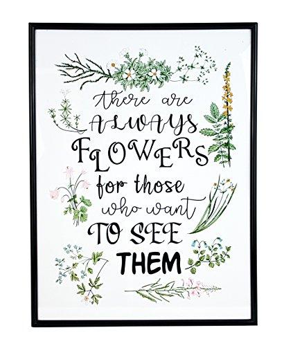 Deko Wandbild Bild mit Glas Rahmen grün weiß, Blumen mit Spruch 31 x 41cm, gerahmtes Poster Pflanzenbild Blumenbild Wanddeko Flower Pflanzen
