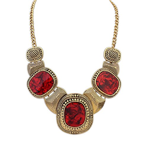 Retro Trend Long Collier Red+Gold