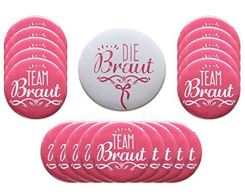 Just Say Yes! JGA Buttons 20er Set: 1x Die Braut (76mm) und 19x Team Braut (56mm), Perfekte Junggesellinnenabschied Accessoires Made in Germany