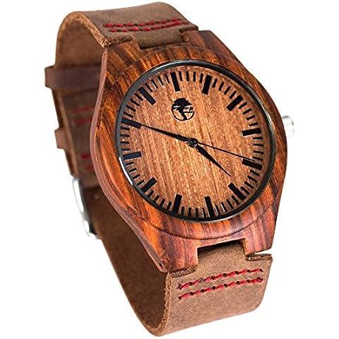 Viable Harvest- Reloj de hombre de madera - Dial de madera de bambú - Bisel de sándalo - Cuero genuino - Caja regalo
