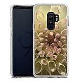 DeinDesign Samsung Galaxy S9 Plus Bumper Hülle silber transparent Bumper Case Schutzhülle Glitzer Look Blume Flower Dahlie
