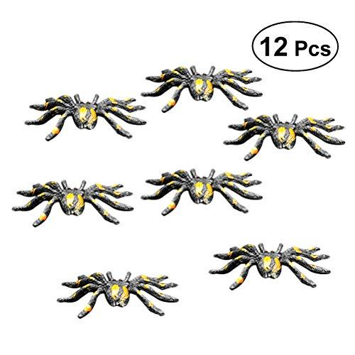 he Spinnen-Plastikgefälschte Spinnen Streich-Gag-Geschenke für Horror-Geisterhaus-Dekorations-Stützen-Halloween-Partei-Bevorzugung 12PCS ()