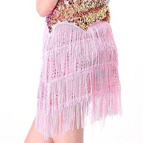 CoastaCloud Femme Mini Robe Latine Salsa Tango Rumba Danse Dress Paillettes à Bretelles Taille unique Rose