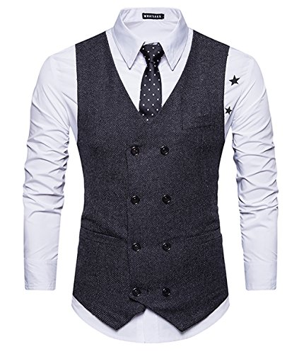 GOMY Herren Weste Anzug slim fit Modern Smoking Sakko Herrenweste Elegant Schwarz M
