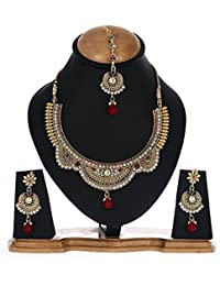 Aabhu Gold Plated Necklace Jewllery Set With Earrings And Maang Tika Jewellery For Girls Women