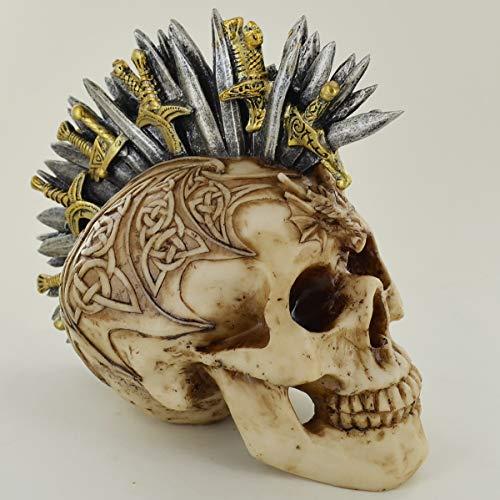Prezentscom Schwert Mohawk Totenkopf klein gruselig Halloween oder Gothic Deko für Fantasy Gothic Fans