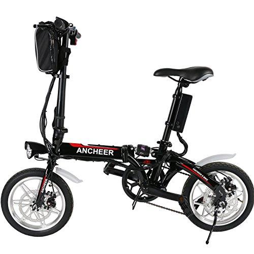 Ancheer Faltbares E-Bike, Elektrofahrrad Klapprad 250W Mountainbike, Große Kapazität Pedelec mit 36V Lithium-Akku und Ladegerät Schwarz (14 inch/ 20 inch/26 inch) Test