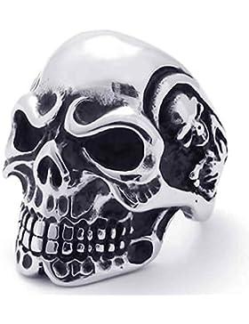 AnaZoz Fashion Retro Punk Gothic Skull Biker Edelstahl Herrenuhr Ring