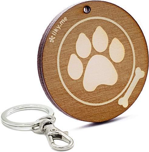 LIKY® Hundepfote  - Schlüsselanhänger aus Holz mit Gravur Geschenk für Damen und Herren Geburtstag Vatertag Muttertag Anhänger für Tasche und - Handmade Hunde Kostüm