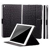 iCues Apple iPad Air 2 Manzano Bag   Funzione di 360 Stand di Struzzo Nero   Premium Stand Luce supplementare in Pelle Molto Sottile - Libro incernierato Custodia pr Custodia Cover Case Tasca Borsa