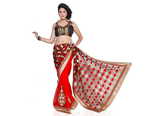 Chirag Sarees Women's Synthetic Saree (3422_Red)
