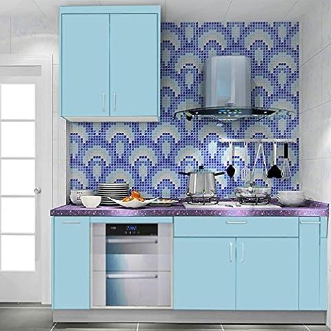 KINLO 0,61 x 5M Papier Peint Autocollant PVC Auto-adhésif Armoires de Cuisine / Porte/ Meubles/ Mur - Bleu