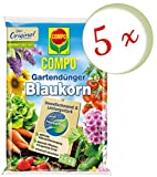 Oleanderhof® Sparset: 5 x COMPO Gartendünger Blaukorn® NovaTec®, 7,5 kg + gratis Oleanderhof Flyer