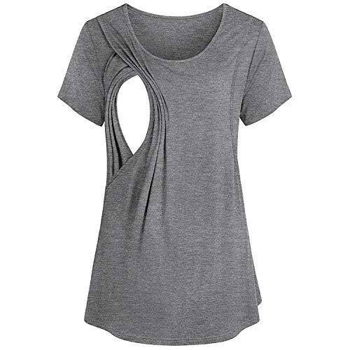 Mutterschaft T-Shirt Frauen Kurzarm Sommer Kurzarm Umstandsmode T-Shirts Süßes Stillen Schwangeres Hemd Umstandsmode Spähen Baumwolle Schwangerschaft Tops T-Shirt (Lustig Billig Mutterschaft T-shirts)