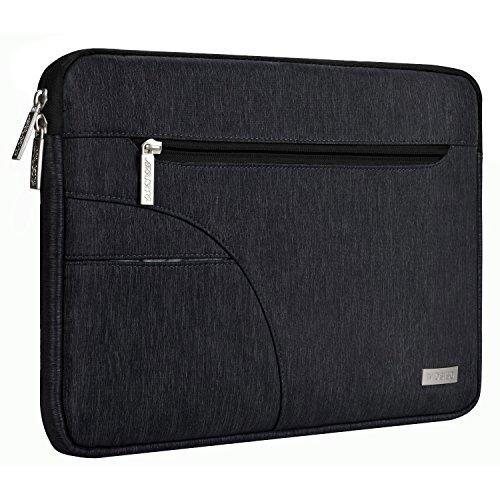 MOSISO Hülle Sleeve Tasche Kompatibel 2018 MacBook Air 13 A1932 Retina, 2018/2017/2016 MacBook Pro 13 Zoll A1989/A1706/A1708, Surface Pro 6/5/4/3, Polyester Stoff Laptoptasche, Schwarz