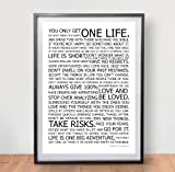 LIFE MANIFESTO POSTER - The World Famous Original Motivational Quote Wall Art Picture Print - Size A2 (420 x 594mm)