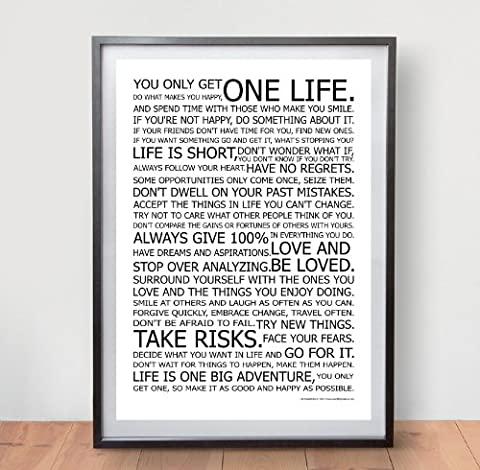 LIFE MANIFESTO POSTER - The World Famous Original Motivational Quote Wall Art Picture Print - Size A2 (420 x