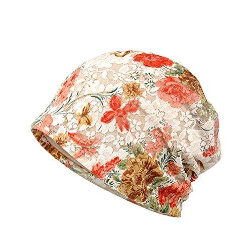 Tininna donna moda caldo protezione solare pizzo fiori slouchy cappello in cotone berretto per donne incinte beanie hat(rosa)