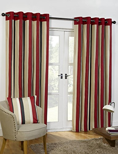 Sundour Curtains  - Padstow in Black/Red; 90'x90'. Eyelet Header, Printed Poly Cotton Half Panama.