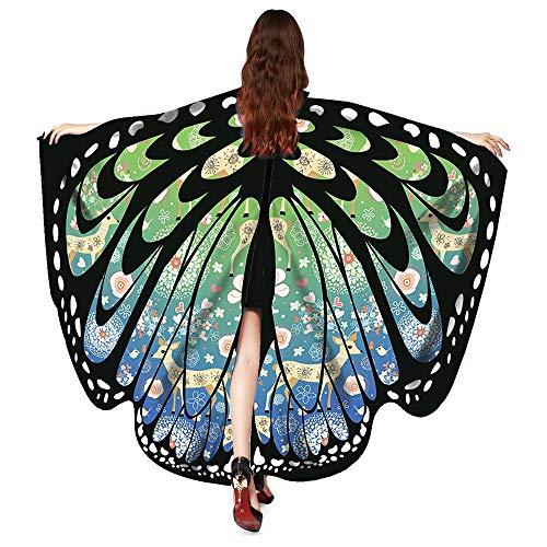 bestshope Damen Schmetterling Drucken Kostüm Schals, Daily Karneval Rollenspiel Mottoparty Faschings Schal Nymphe Pixie Poncho Bluse Rock KostümZubehör für Baby Kinder Jungen Mädchen Frauen Herren
