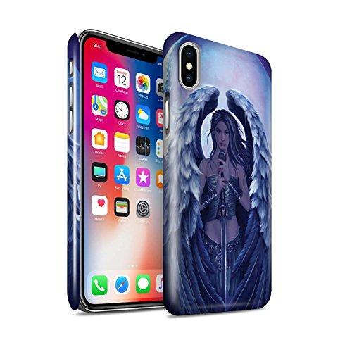 Officiel Elena Dudina Coque / Clipser Brillant Etui pour Apple iPhone X/10 / Coeur Noir Design / Super Héroïne Collection Ange Gardien